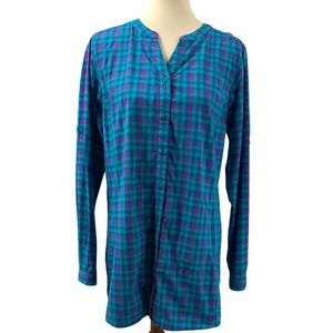 Duluth Trading Co Plaid Button Front Vented Top